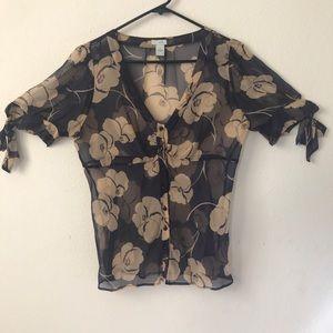 Anthropologie- Odille Sheer floral  blouse size 10
